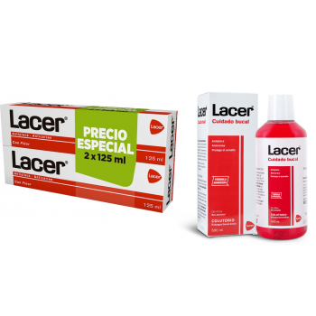 Pack Lacer: Lacer Colutorio 500 mL + Dúo Lacer Pasta  Dentífrica (125 + 125) mL